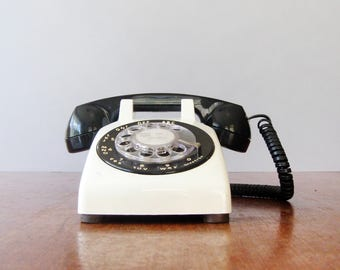 Vintage AT&T / ITT Black and  White Rotary Telephone