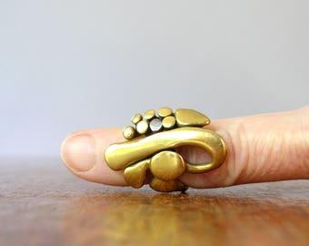 Vintage 70's Brass / Bronze Brutalist Artisan / Handmade Ring Carl Tasha / Pal Kepenyes Style