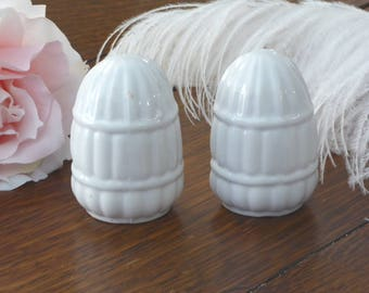 Vintage Pair White Ceramic Bird Cage Feeders Marked Japan, Pair Old Bird Cage Water and Seed Containers White