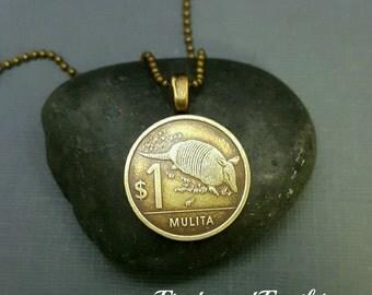 Armadillo coin necklace - Armadillo necklace - Mulita - Uruguay coin - coin jewelry - Armadillo jewelry - Armadillo pendant