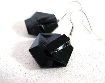 Black Button Earrings Short Dangle Repurposed vintage glass geometric women's dress accessory modern style unique accessory gifts under 20