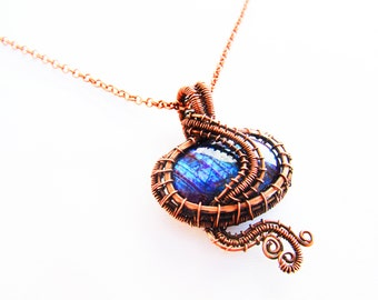 "Small Purple Labradorite Pendant with Oxidized Copper Wire - 1.75"" x .2.25"""