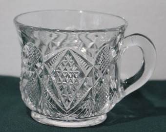 Set of 6, Antique U. S. Glass Co., Pennsylvania Pattern (#15048) Footed Punch Cups