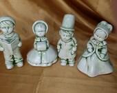 Vintage Christmas Carolers Open Mouth Set of 4 figurines figurine caroler green *eb