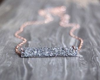 Crushed Crystal Bar Necklace
