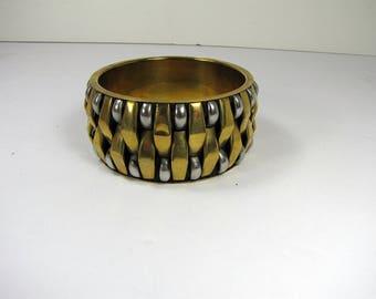 Vintage BRASS BANGLE BRACELET Basket Weave Stainless Woven Boho Jewelry