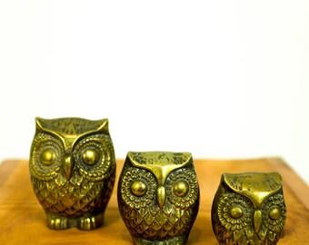 Vintage 1960s Brass Owl Paperweights Set of Three (3)