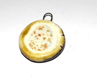 Ceramic Robins Egg Pendant Charm Stoneware Handmade Unique