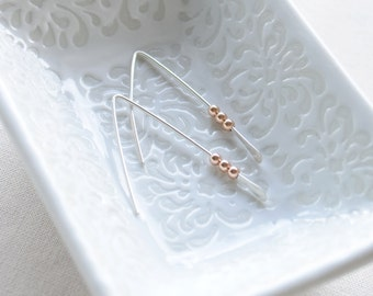 Simple Earrings with Rose Gold Beads- 3130
