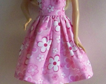 Handmade Barbie Doll Clothes-Pink with White and Pink Flowers Barbie Dress