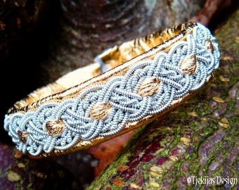 ALFHEIM Sami bracelet Cuff in Gold Reindeer Leather | Swedish Lapland Bracelet with Pewter Braid | Handcrafted Natural Nordic Elegance