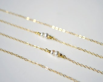 Best Friend Pearl Necklace, Double Pearl Necklace, Two Pearl Necklace, Gold Pearl Necklace, Silver pearl Necklace, Simple Pearl Necklace