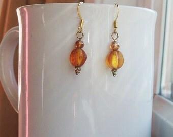 Amber Gold Earrings Orange Glass Bead Earrings in Gold
