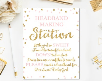 Headband Sign, Headband Station Sign, Headband Baby Shower Sign, Baby Shower Printable, Gold Glitter Pink Gold Baby Shower BB1