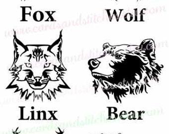 Wild Animals SVG - Wolf - Fox - Moose - Elk - Bear - Digital Cutting File - Cricut Cut - Vector - Instant Download - Svg, Dxf, Jpg, Eps, Png