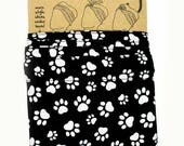 Wired Head Scarf - BLACK & WHITE Paw Prints - 'Do Rag, Bow, Cotton Wrap, Twist, Bandana, Wire, Band, Hair Tie, Roller Derby, Retro Pin Up