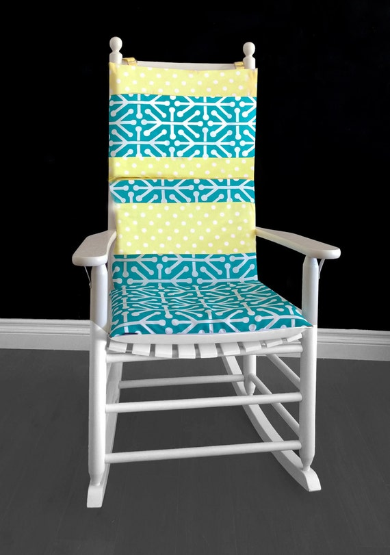 ON SALE Rocking Chair Cushion Yellow Polka Dot Aruba