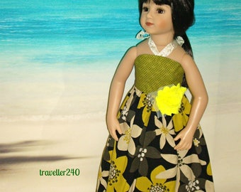 "Bold Floral Midcentury Print Halter Maxi Dress, Handmade Doll Clothes for 20"" Maru and Friends, Dianna Effner Sculpt, by traveller240"
