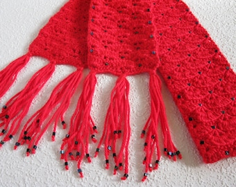 Beaded Red Scarf.  Bright red, crochet scarf with black beads for women.