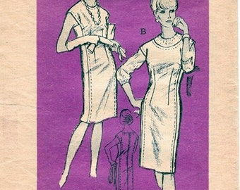 Mod Vintage 1960s Prominent Designer A670 McMullen Sheath Dress or Jumper with Extended Shoulders Sewing Pattern B35