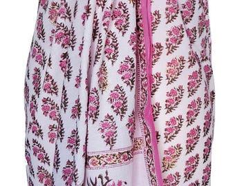 Hand Block Printed Sarong - Rose Booti White