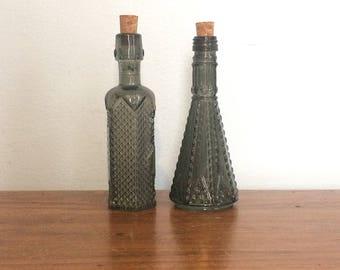 Antique Pair Serpis Alcoy Bottles / Perfume Apothocary Bottles 1900s /  Collectible Turn Of Century Bottles