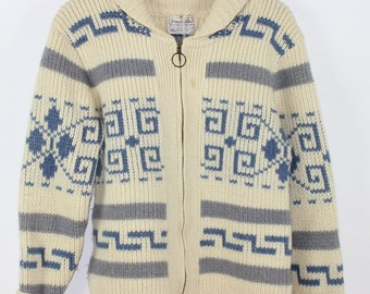 Baby Blue and Ivory Pendelton Cowichan Big Lebowski Sweater
