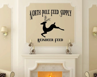 Reindeer Feed | Vinyl Wall Decal | North Pole | Feed Supply | Holiday Decor | Christmas Decoration | Christmas Decal | 22598