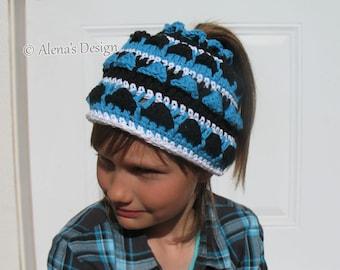 Crochet Pattern 182 Colored Ponytail Hat Messy Bun Hat Crochet Patterns Toddler Child Teen Adult sizes Girls Ladies Beanie Christmas Gift