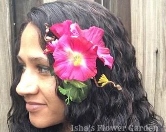 Pink morning glory hair flower, Morning glories, dark pink, flower barrette