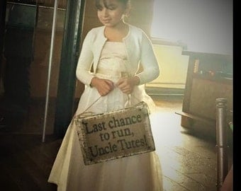 Last chance to run, wedding aged wood and burlap customized sign, ring bearer, flower girl, wedding party aisle decoration, keepsake
