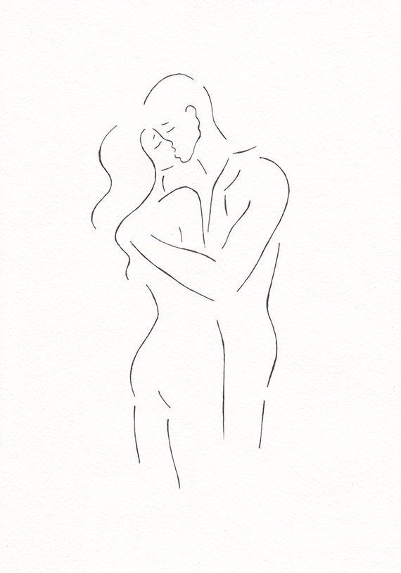 Line Drawing Kiss : Original line drawing minimalist kiss sketch black and white