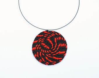 Red and black necklace, spiral necklace, rattail pendant, swirl necklace, geometric necklace, statement necklace spring trends, gift for her