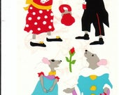 SALE Mrs Grossman Mice in Costume Rare Vintage Stickers - Scrapbook Collage Mouse Rose Tophat Suit Polka Dot Stripe Dress Up Theater