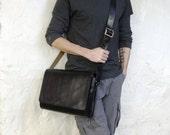 Black Leather Medium Messenger Bag - CLEARANCE -