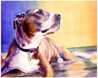 "8x10"" Pit Bull Dog Watercolor Art Print [Pit Bull Painting Pit Bull Watercolor Pit Bull Print Pit Bull Art Pit Bull Art Print]"