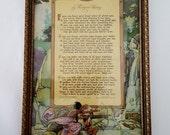 """Antique Framed Rudyard Kipling Poem  Colored Illustrated Rudyard Kipling """" IF """" Poem Ornate Gold Wood Framed Author Rudyard Kipling Poem"""