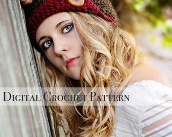 Crochet Pattern / Hat Pattern / Chunky Flapper Hat Pattern 008 / Crochet Cloche Pattern /  Women's Crochet Hat Pattern