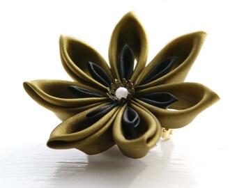 Custom Colour Hair Flower, Kanzashi Flower Hair Clip, Flower Brooch Pin, Flower Corsage  - Women's Accessory