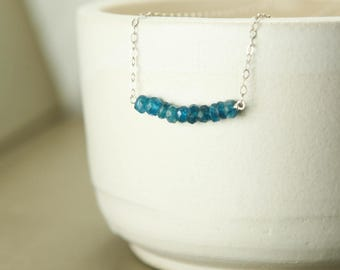 Blue Apatite Beaded Bar Necklace - Sterling Silver Gemstone Simple Delicate Chain - Inspiration, Communication, Healing