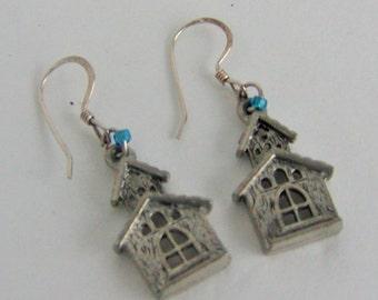 Vintage Pewter Bird House Earrings