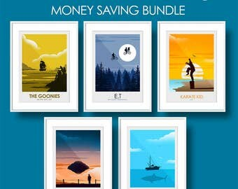 Money Saving Offer - 5 x Prints of your Choice from the minimalist print series - Choose Your Size - Movie Poster, Television, Poster, Art