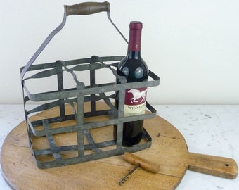 Vintage Bottle Carrier, French Zinc Wine Carrier, 6 Bottles, Milk Crate, Bottle Caddy, Rustic French Country