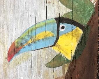 "Hand Painted Toucan on 19"" x 5 1/2"" Barnwood"