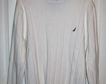 Vintage Ladies White Pullover Crew Neck Sweater by Nautica XL Only 8 USD
