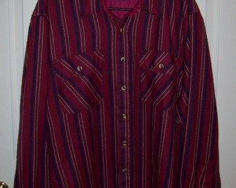 Vintage Men's Wine Striped Flannel Shirt by Fieldmaster Large Only 9 USD