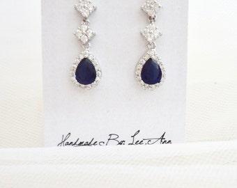 Blue Sapphire earrings, Cubic Zirconia's, Something Blue, Brides earrings, Sterling wires, Elegant, Wedding earrings, Bridal jewelry~ TIA