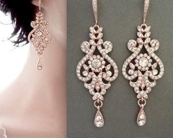 Rose gold earrings ~ Brides earrings,Rose gold crystal earrings,Rose gold chandelier earrings,Rose gold wedding jewelry,Brides earrings. MIA