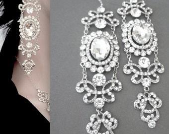"Long Crystal earrings ~ Statement earrings ~ Chandelier earrings ~ Wedding earrings, 5"" long ~Brides, Vintage style earrings ~ ANGELINA"