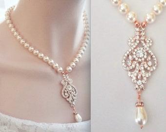 Rose gold necklace, Rose gold crystal necklace, Rose gold pearl necklace, Wedding necklace,Brides necklace,Rose gold Statement necklace,MIA